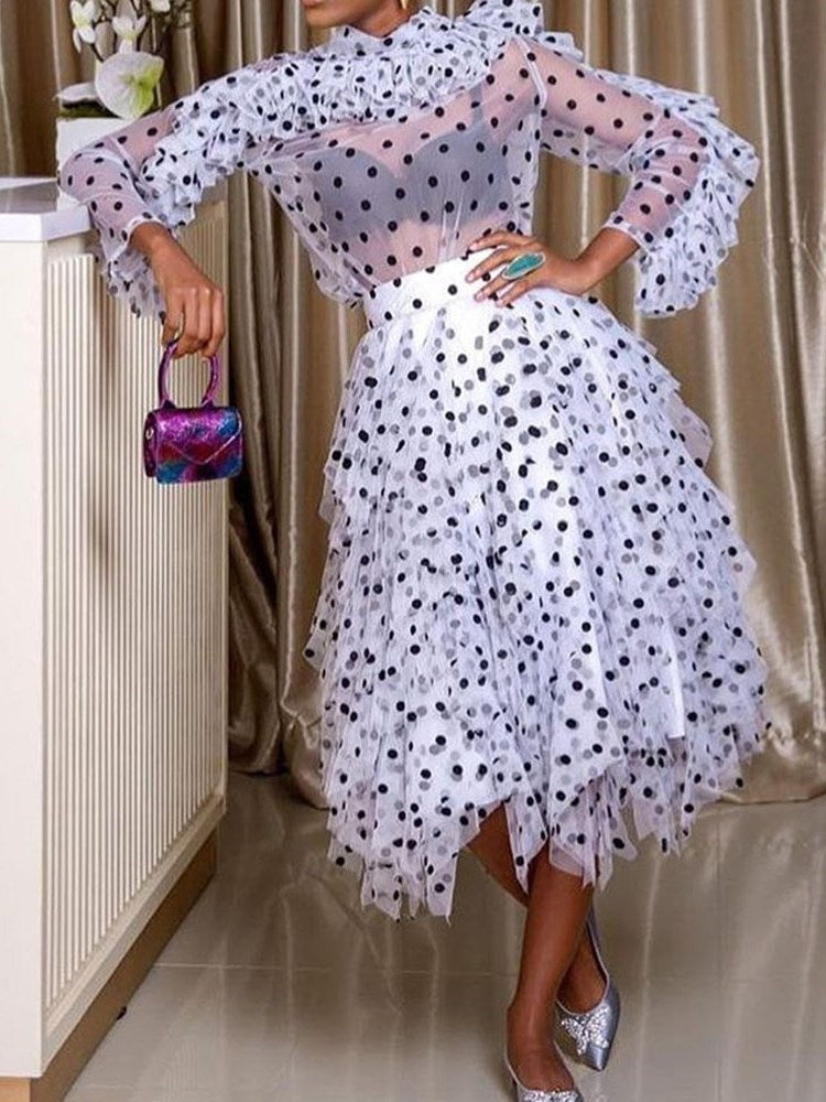 Nine Points Sleeve Mid-Calf Stringy Selvedge Sweet Polka Dots Dress