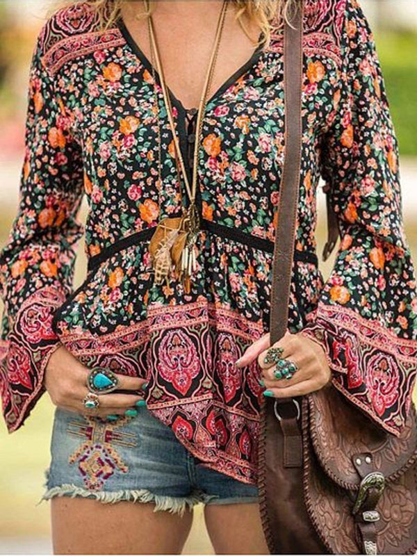 Regular Print Floral Long Sleeve Standard Blouse