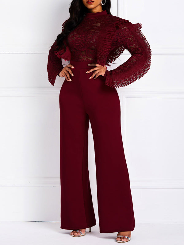 Patchwork Plain Full Length Slim Straight Jumpsuit