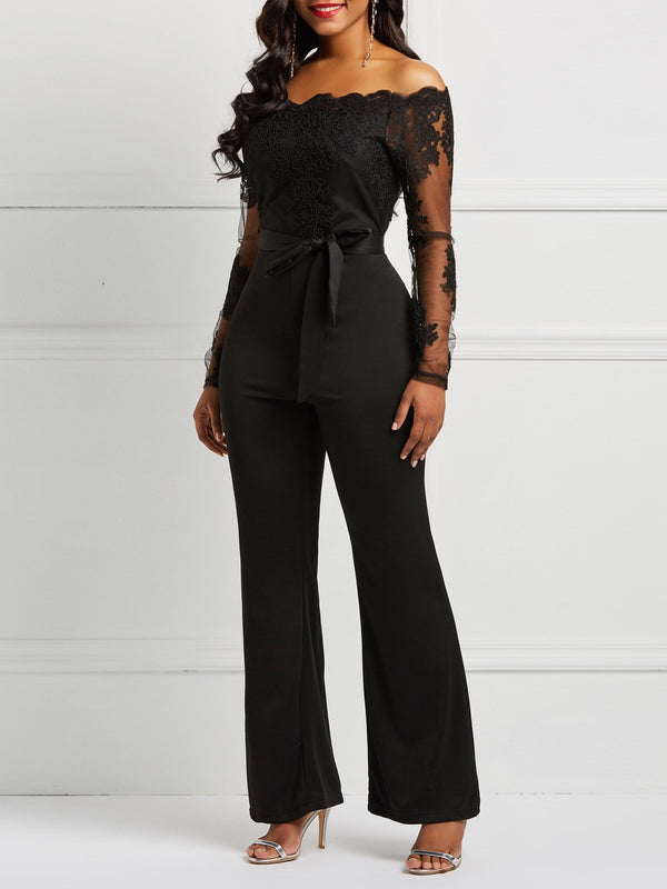 Lace Full Length Fashion Slim Wide Legs Jumpsuit