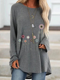 Floral Mid-Length Round Neck Loose Casual T-Shirt
