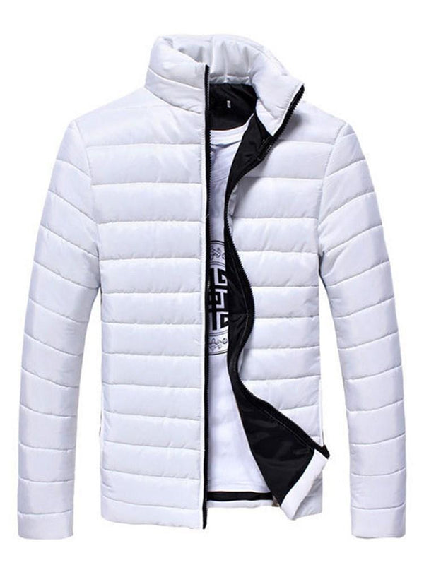 Stand Collar Standard Plain Zipper Casual Down Jacket