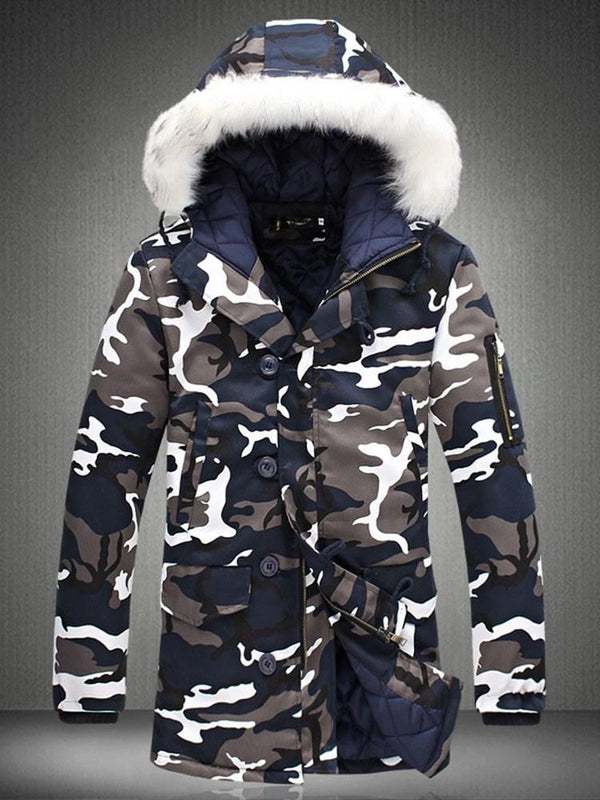 Camouflage Hooded Mid-Length Casual Zipper Down Jacket