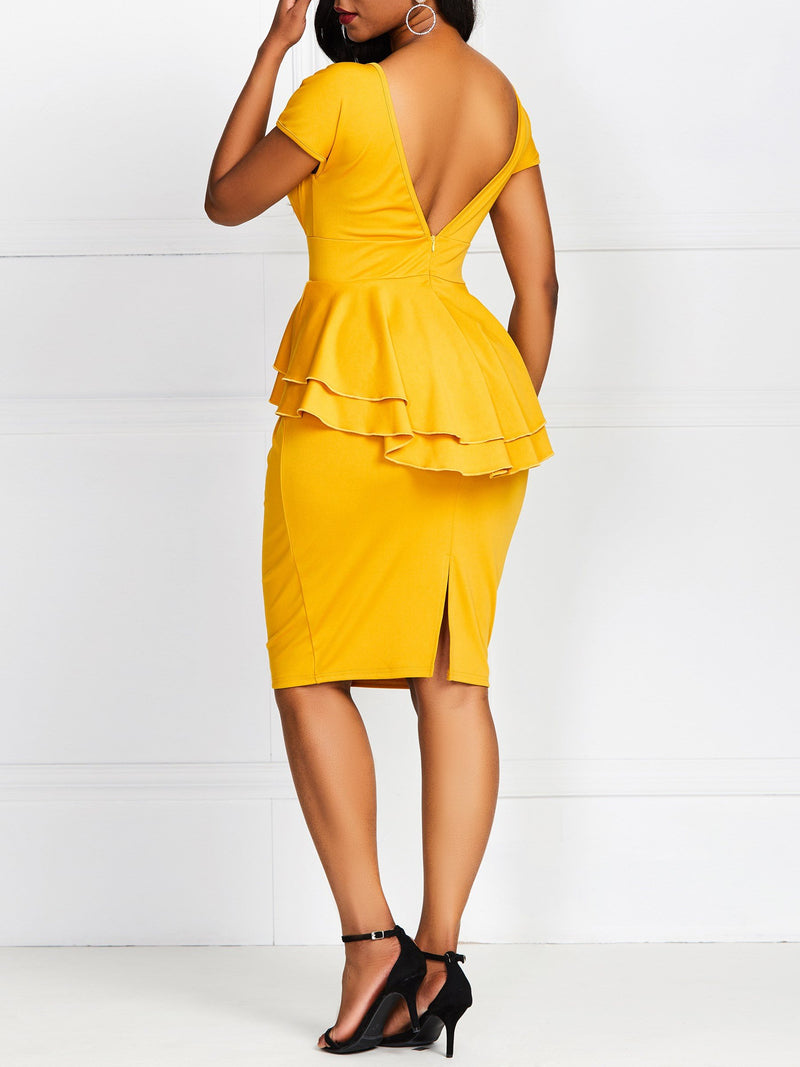 Falbala V-Neck Knee-Length Plain Pullover Dress