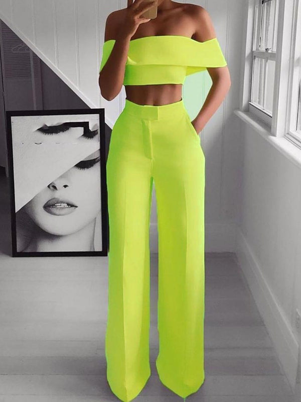 Shirt Plain Sexy Straight Off Shoulder Two Piece Sets