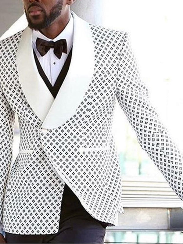 Print One Button Notched Lapel leisure Suit