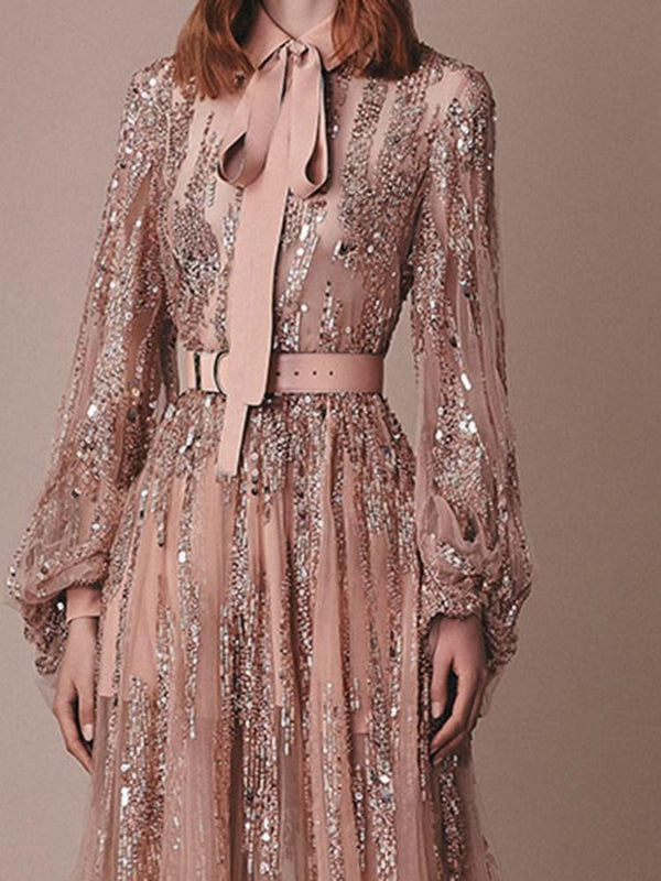 Long Sleeve Sequins Lapel Party/Cocktail A-Line Dress