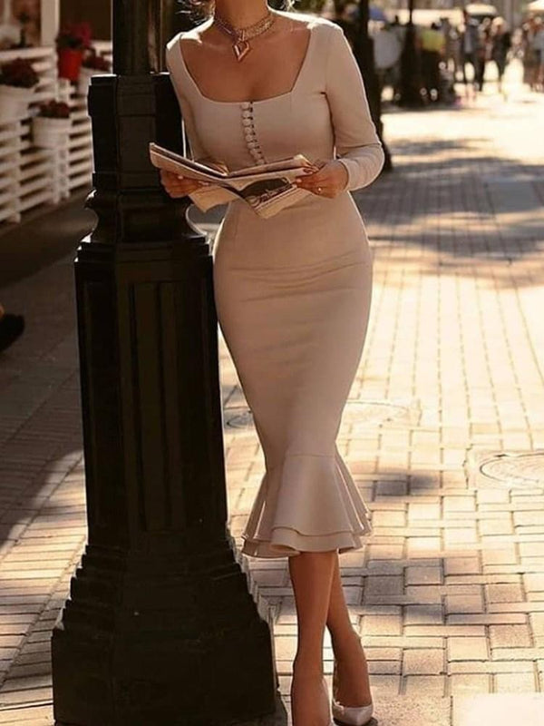 Mid-Calf Square Neck Long Sleeve Pullover Plain Dress