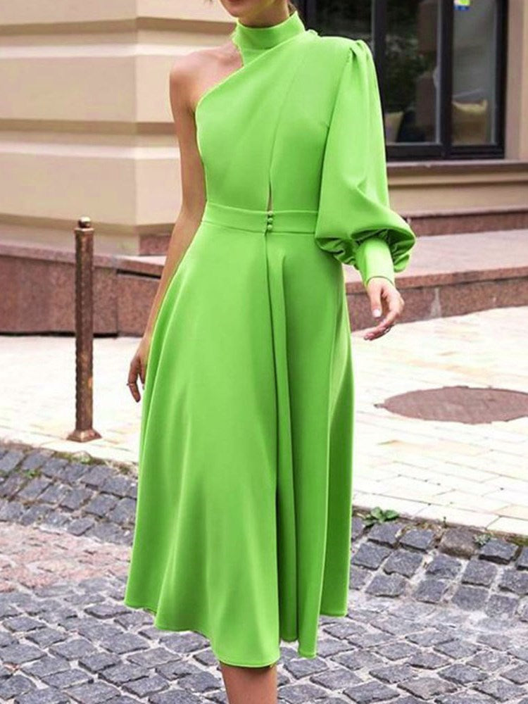 Long Sleeve Turtleneck Mid-Calf One-Shoulder Standard-Waist Dress