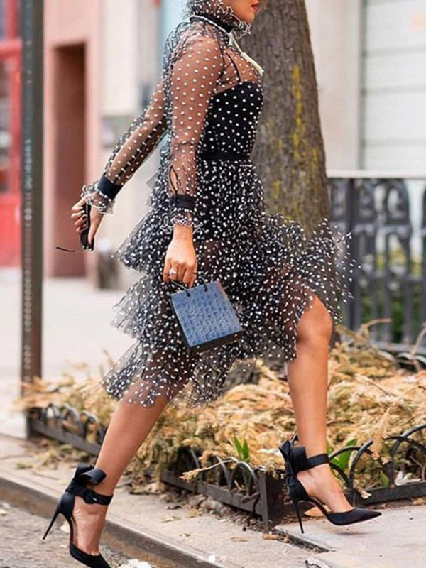 See-Through Long Sleeve Mid-Calf Polka Dots High Waist Dress