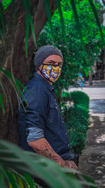 Load image into Gallery viewer, Camo Gold & Purple Mask
