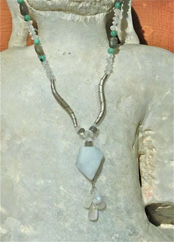 Light Blue Lace Agate Necklace