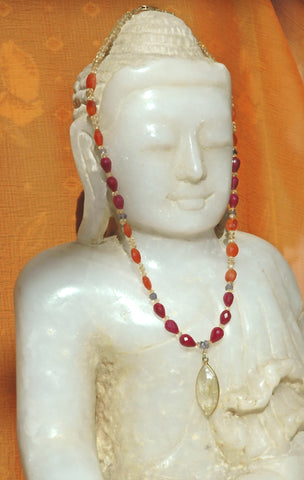 Rutilated Quartz w/ Ruby and Carnelian Necklace