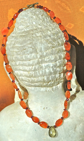 Carnelian w/ Olive Citrine Drop Necklace