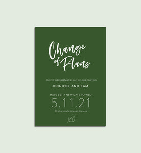 Change of Plans card - Digital