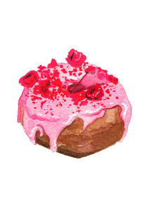 Raspberry rubble donut