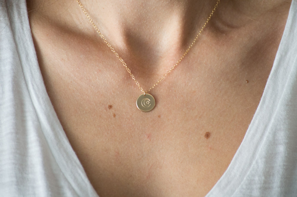 Crescent Moon & Star Disc Necklace - 1/2""