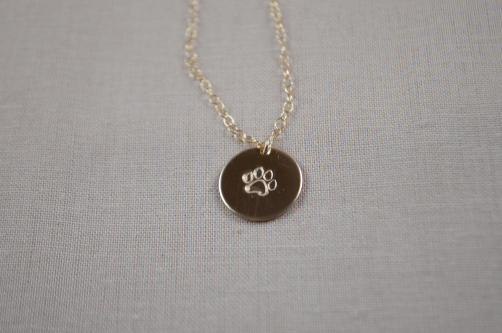 Paw Print Disc Necklace - 1/2""