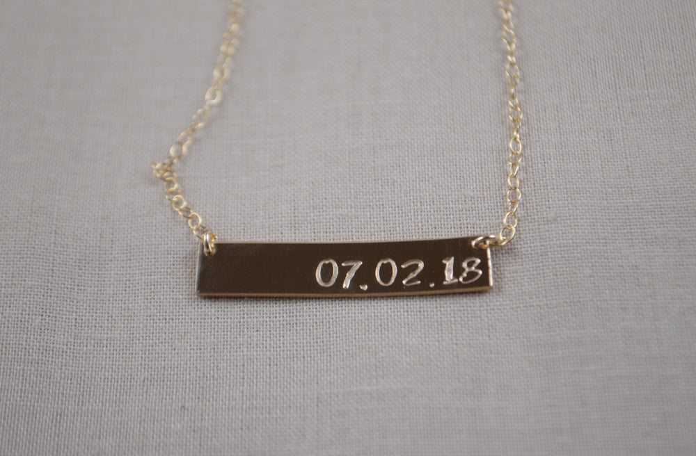"Dia Date Bar Necklace - 1.25"" X 1/4"""