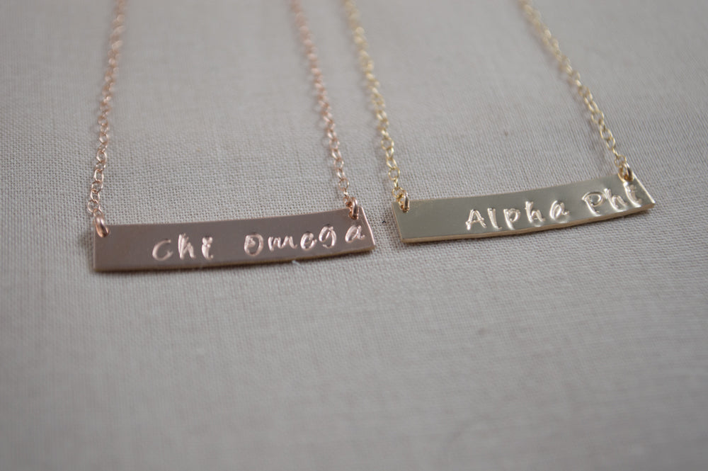 Greek Life Dia Bar Necklaces