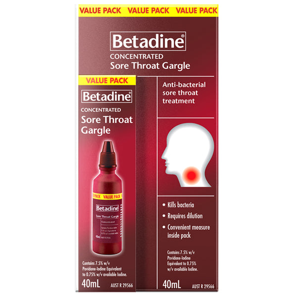Betadine Concentrated Sore Throat Gargle Value Pack 40 mL