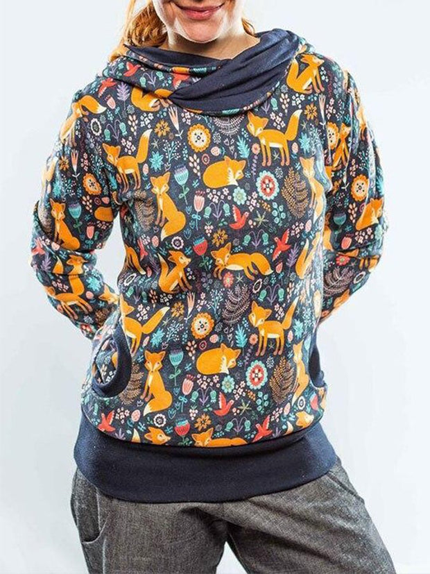 Kartoon Tier Fuchs Print Retro Hoody Kapuze Sweatshirt