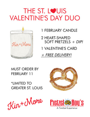 Valentine's Day Duo Delivery - Candle + Pretzel