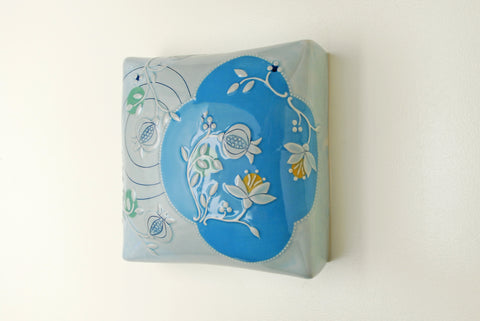 Wall Pillow w. Pomegranates in Sky Blue & Frost gloss