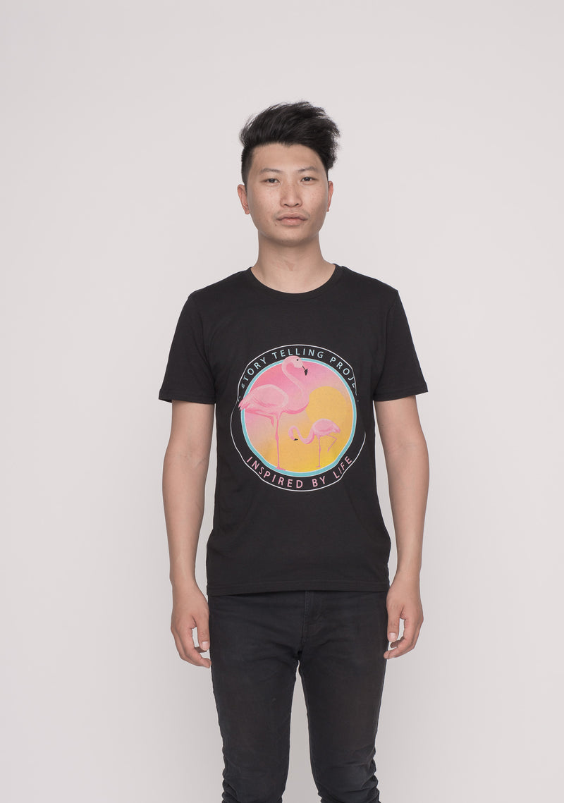 TOMNATIVE - FLAMINGO FEVER - T-SHIRT BLACK (TN)
