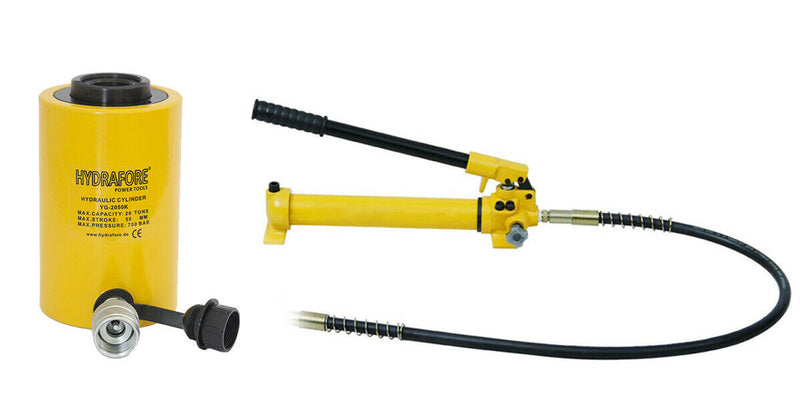 "Hydraulic Hand Pump with Single-acting Hollow Ram Cylinder (20tons 2"")"