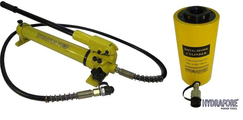 "Hydraulic Hand Pump with Single-acting Hollow Ram Cylinder (30tons 4"")"