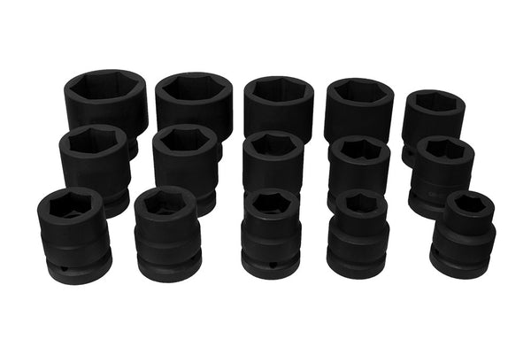 "1"" Drive Metric Impact socket set 22-60mm Hex (JQ-1-15set)"