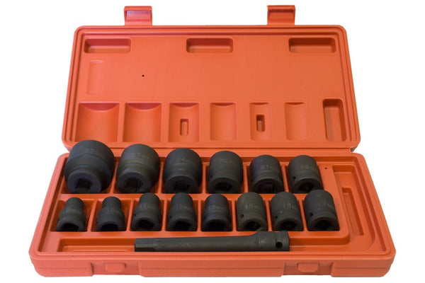 "1/2"" Drive Metric Impact Socket Set 9-32mm Hex (15pcs) (JQ-12-15set)"