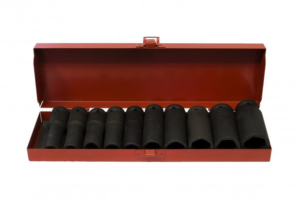 "1/2"" Drive Metric Deep Impact Socket Set 11-27mm ( 10pcs ) 3"" deep (JQ-78-12-10set)"