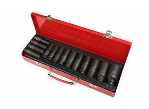 "1/2"" Drive Metric Deep Impact Socket Set 11-32mm Hex ( 15pcs ) 3"" length (JQ-78-12-15set)"