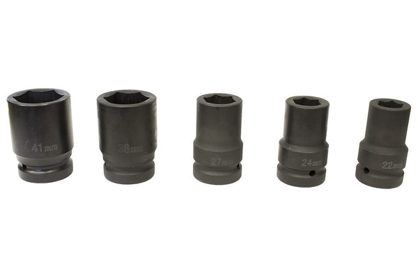 "1"" Drive Metric Deep Impact socket set 22-38mm Hex (3.2"" deep) Without box (JQ-80-1-5set)"