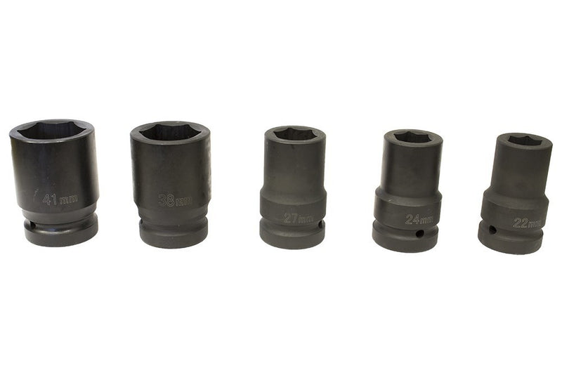 "1"" Drive Metric Deep Impact socket set 22-41mm Hex (3.2"" length) Without box"