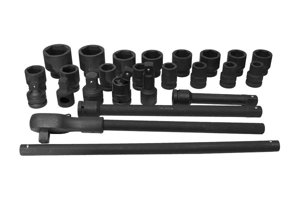 "3/4"" Drive Metric Impact Socket Set (17-50mm) Wrench, Adapters, Bars ( 24pcs) (JQ-34-24set)"