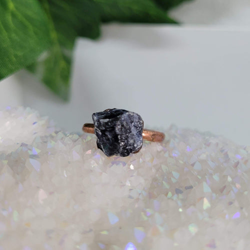 Sodalite Crystal Ring Rose Gold Plated