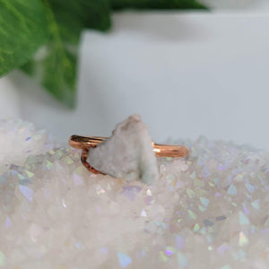 Green Aventurine Crystal Ring Rose Gold Plated