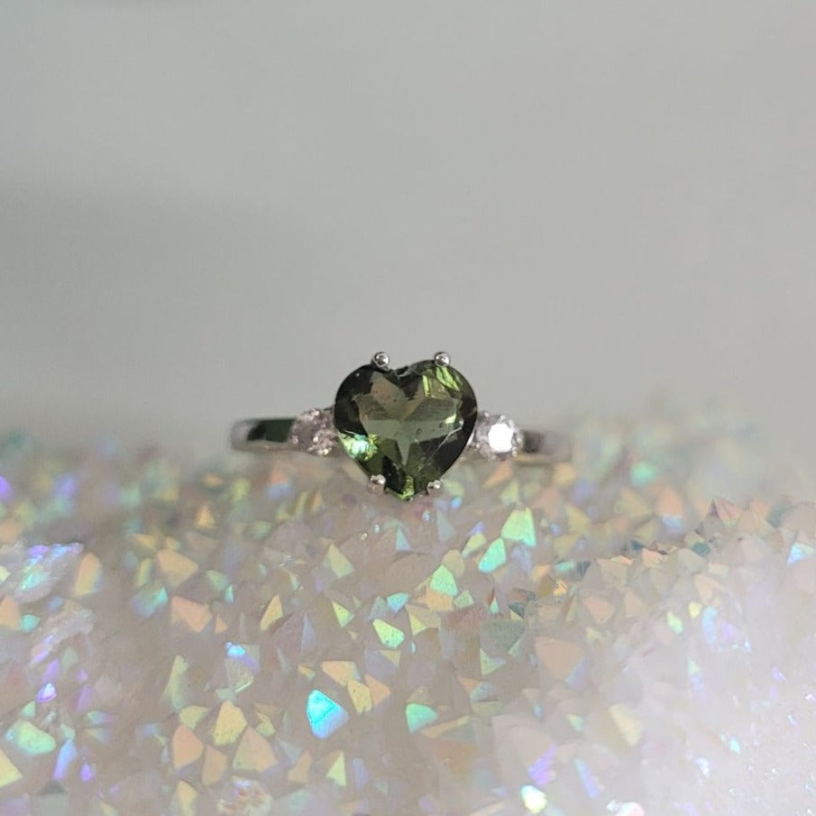 7mm faceted Moldavite Love heart sterling silver ring with cubic zirconia
