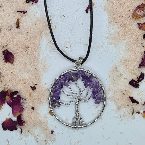 Necklace with Amethyst Tree of Life Pendant