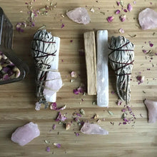Load image into Gallery viewer, Smudge Kit: White Sage, Palo Santo, Raw Rose Quartz Crystal & a Selenite Wand