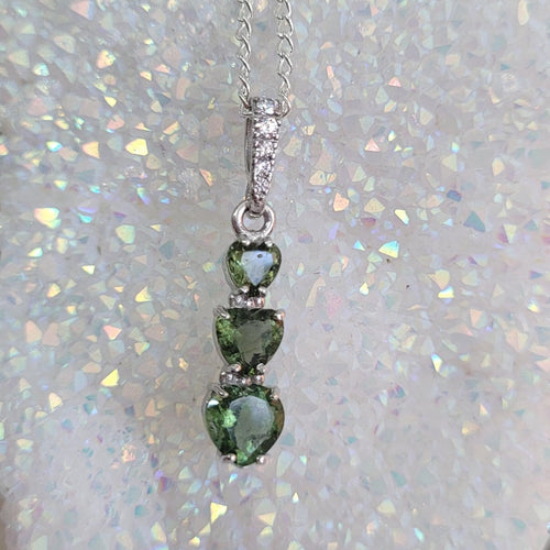 Moldavite faceted 5mm, 6mm, 7mm triple heart shaped pendant with cubic zirconia