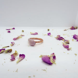 Rose Quartz Crystal Ring Rose Gold Plated
