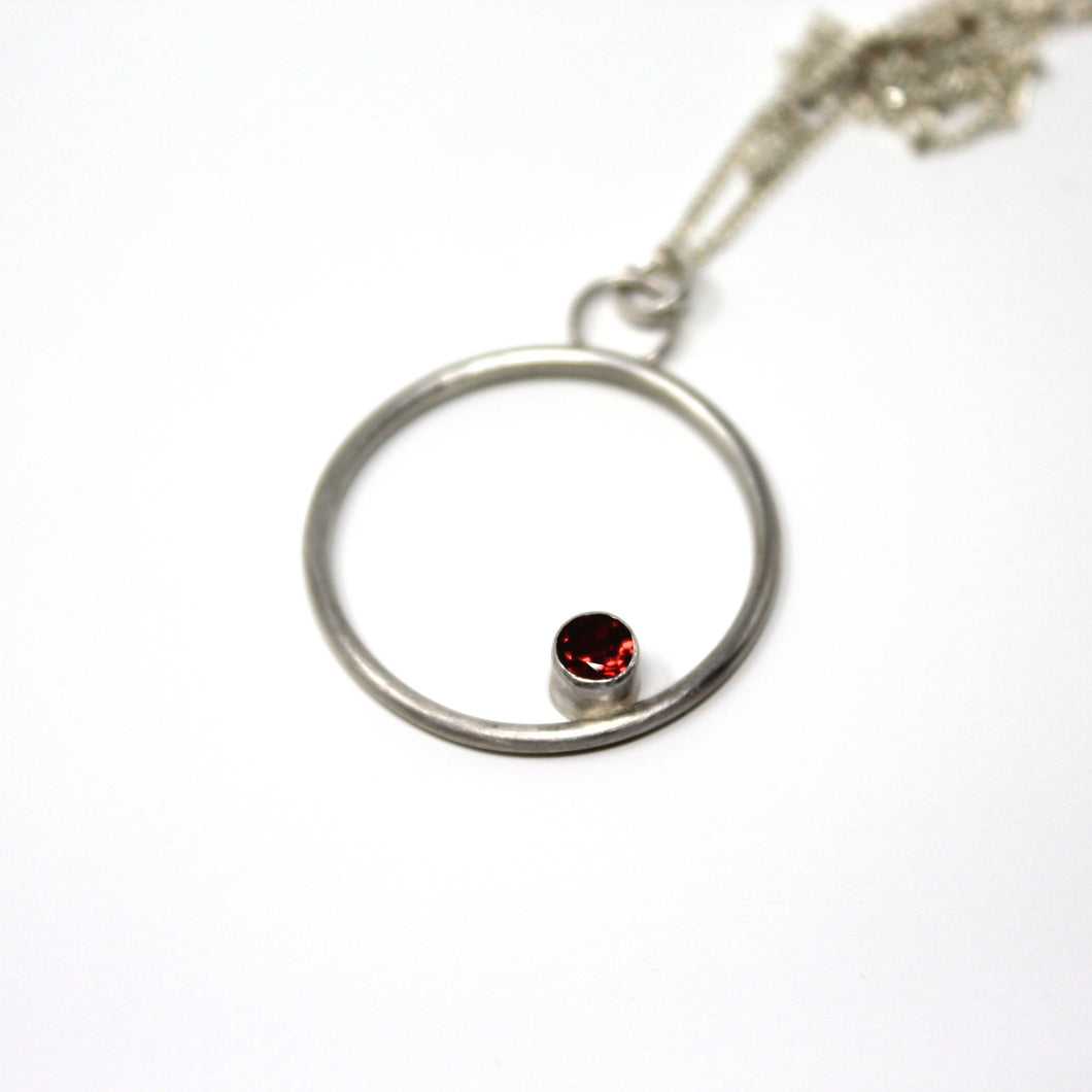 Garnet Kissing Circles Pendant
