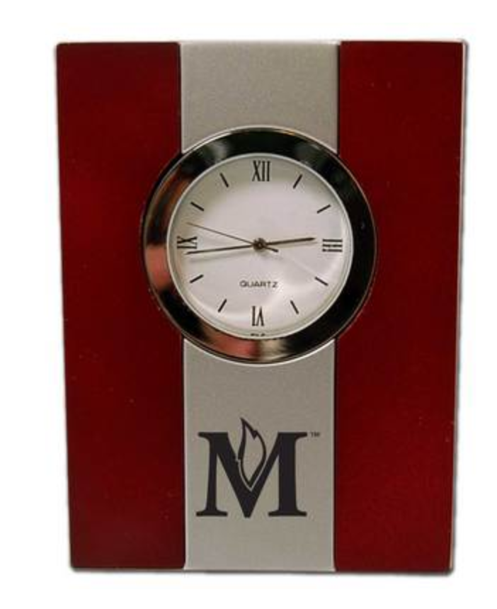 Wood & Metal Desk Clock, Silver