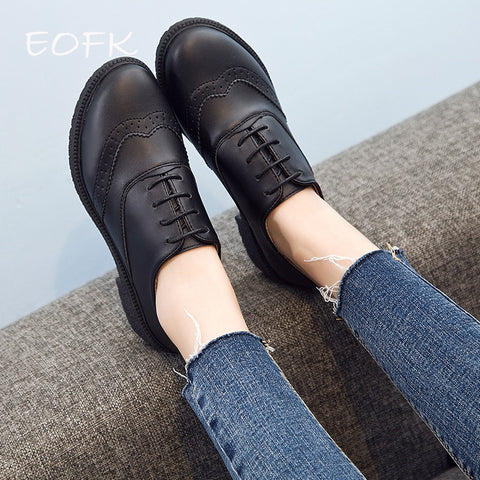 Women's Oxfords Genuine Leather Derby Shoes
