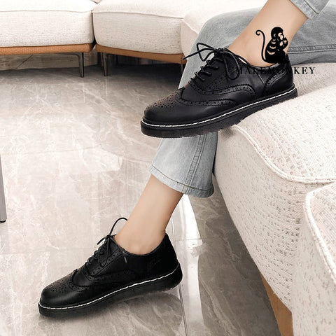 Women's Lace Up Genuine Leather Oxford Shoes