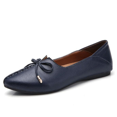 Women Leather Slip On Pumps